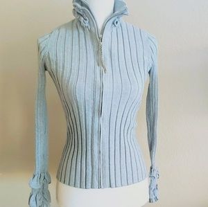 Belldini Double-Zip Ribbed Gray Sweater - L